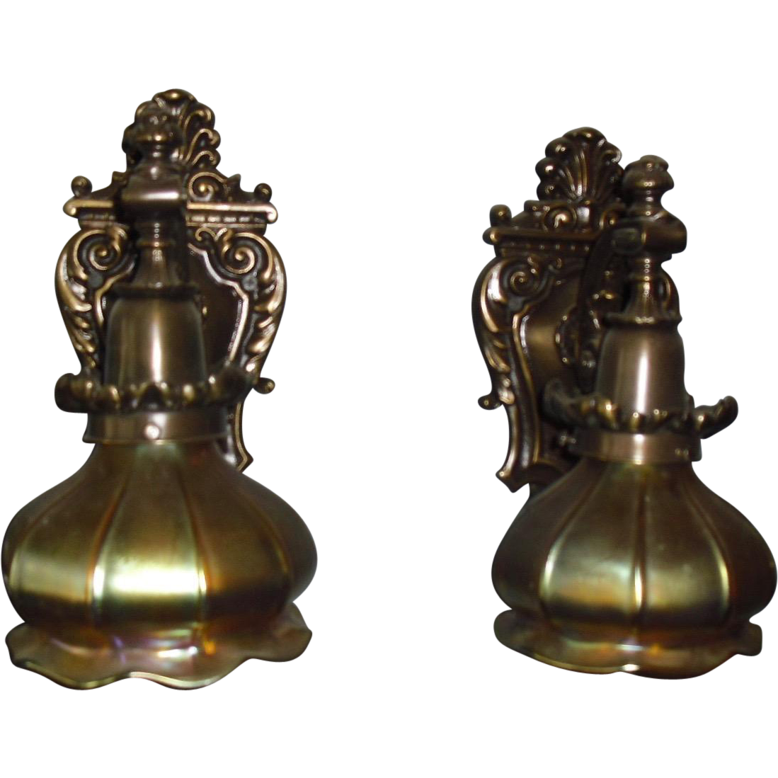 Cast Brass Wall Sconces with Steuben Aurene Art Glass Shades