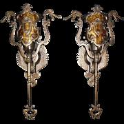 Tudor Cast Bronze Dragon Sconces with Mica Shields