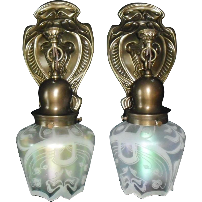Art Nouveau Brass Wall Sconces with Iridescent Acid Etched Glass Shades