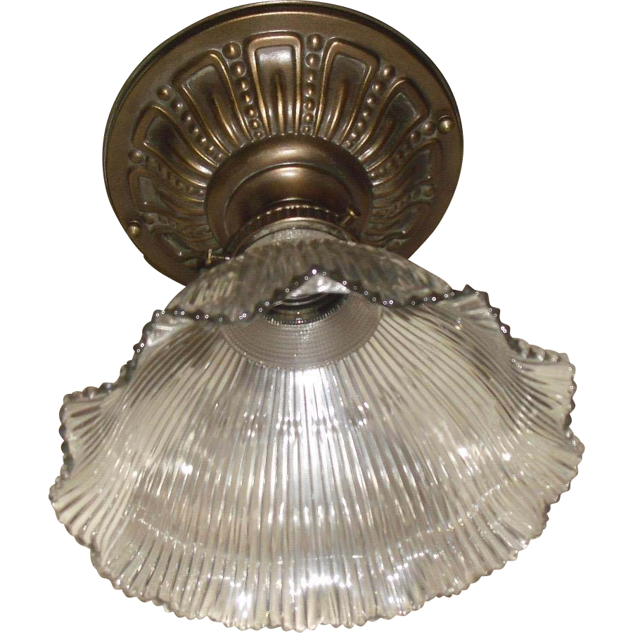 Holophane F7 Glass Shade in Decorated Brass Ceiling Fixture - 2 available
