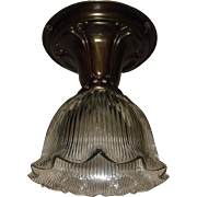 Holophane E60 Glass Shade in Decorated Brass Ceiling fixture - 2 available