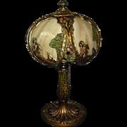 Asian Theme Bent Panel Boudoir Table Lamp - Salem Bros.