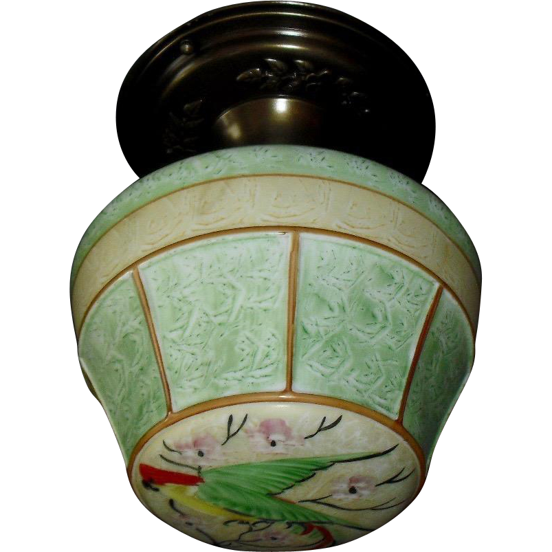 Unusual Parrot Ceiling Light with Painted Glass Shade on Decorated Brass Fixture