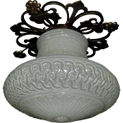 Embossed Camphor Glass Shade in Fancy Brass Ceiling Fixture