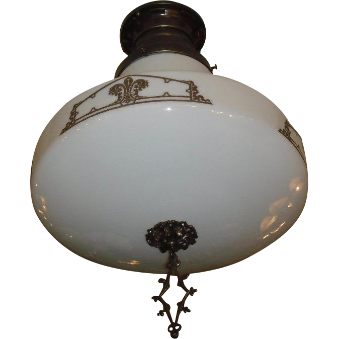 Large Kayline Decorated Ceiling Light in Original Bronze Fixture