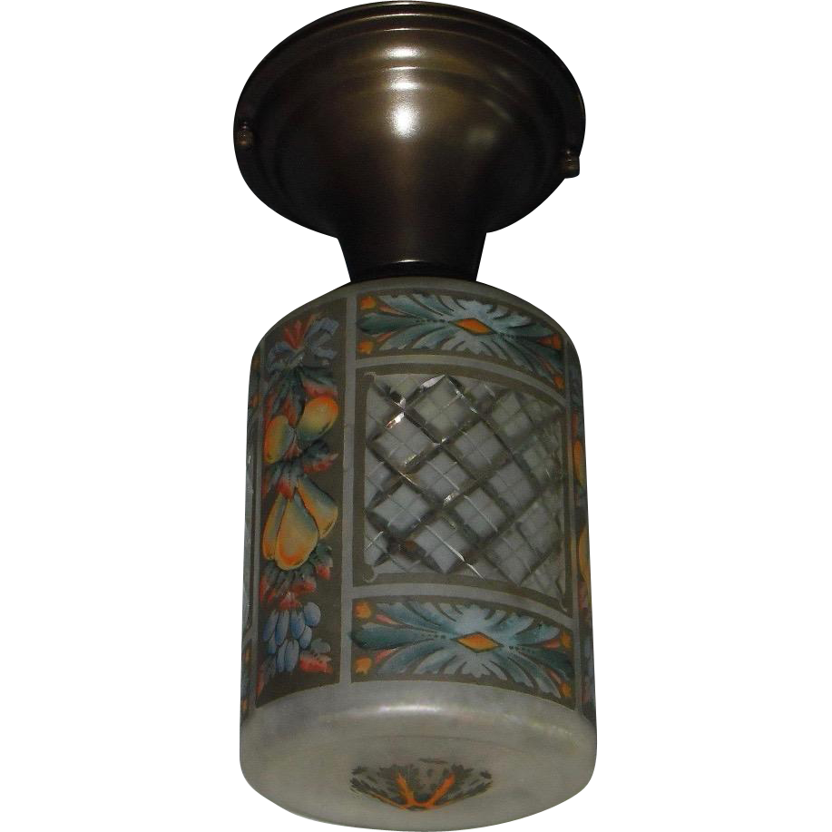 Acid Etched and Cut with Color Glass Shade in Brass Ceiling Fixture