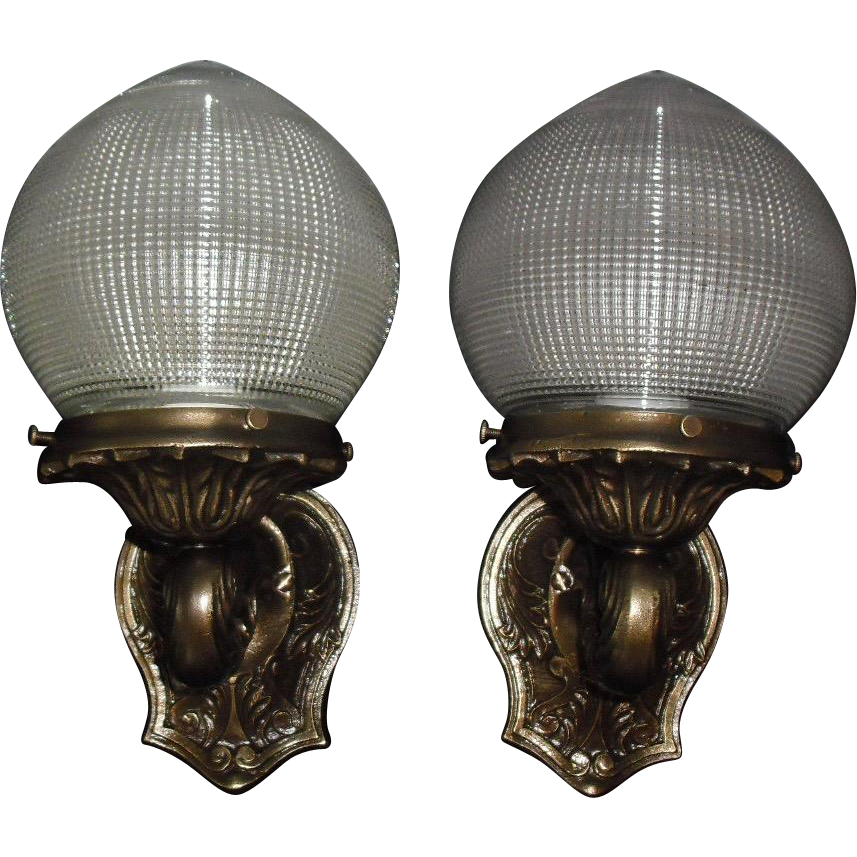 Neoclassical Cast Bronze Porch Lights with Holophane Criss-cross Glass Shades