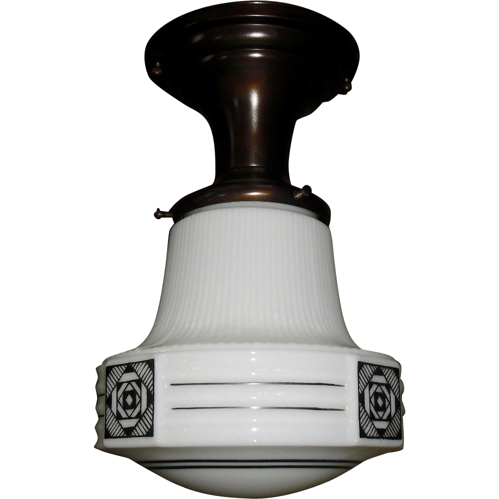 Art Deco Milk Glass with Black Design Flush Mount Ceiling Light - 2 available
