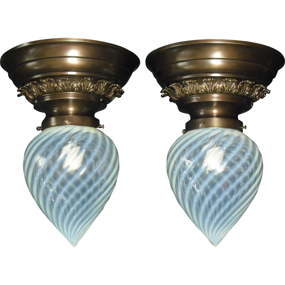 Victorian Phoenix Opalescent Swirl Glass Shades in Fancy Brass Ceiling Light Fixtures - Matched Pair