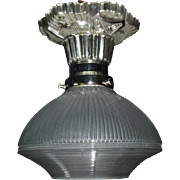 Art Deco Flush Mount Ceiling Light with Holophane Glass Shade