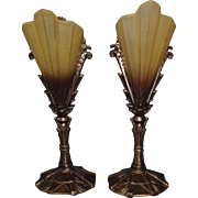 Art Deco Cast Bronze Mantle Lights / Table Lamps with Brown-tip Slip Shades - Midwest Lighting