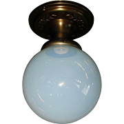 Blue Opalescent Ball Shade in Decorated Brass Ceiling Fixture