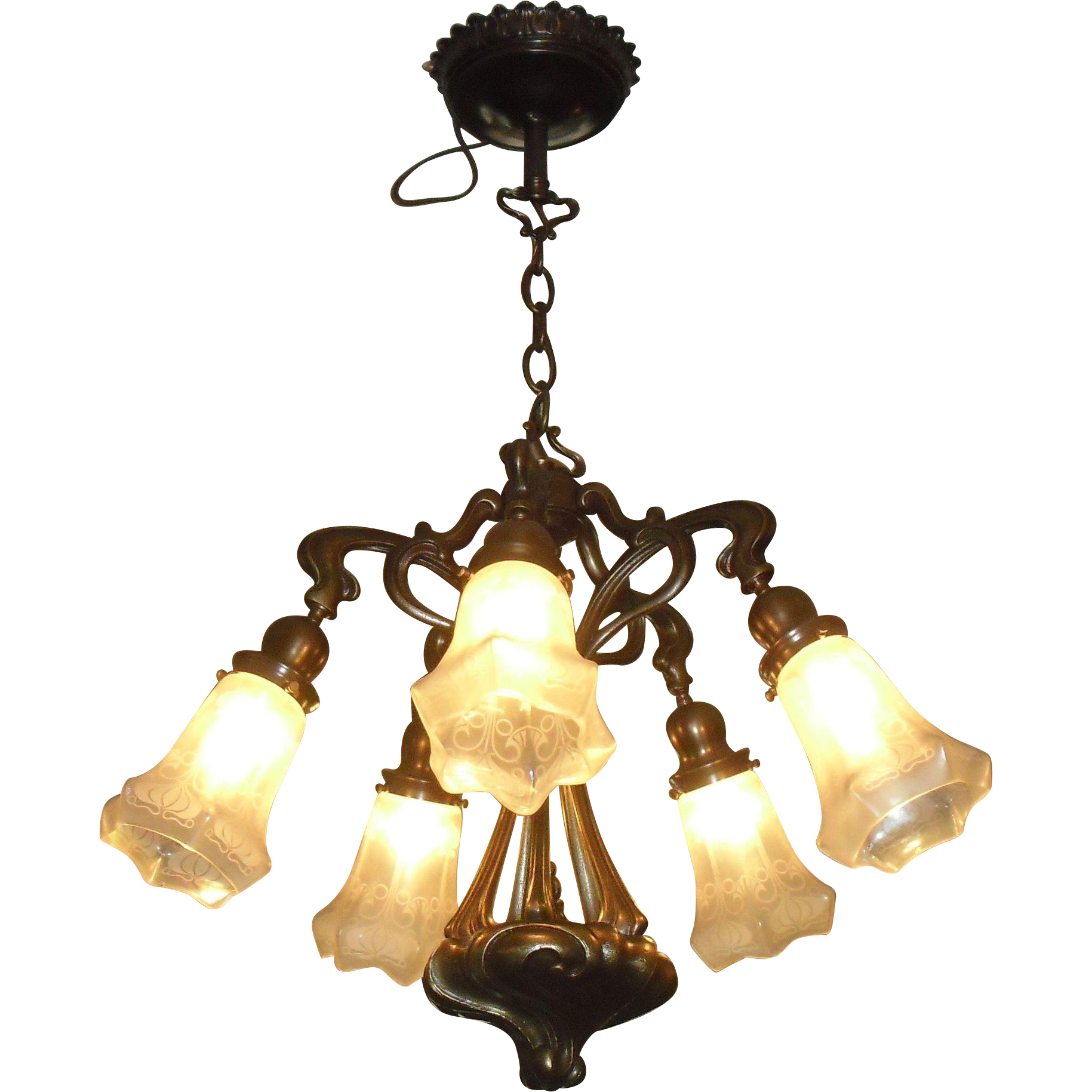 Art Nouveau Cast Brass 5 Light Chandelier with Iridescent Acid Etched Glass Shades