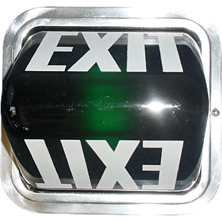 Art Deco Green Glass Exit Ceiling Light Fixture