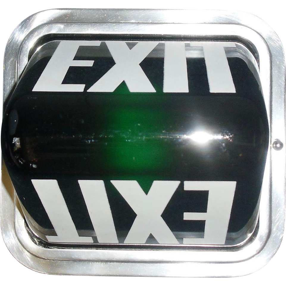 Art Deco Green Glass Exit Ceiling Light Fixture