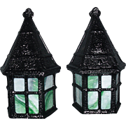 Riddle Exterior Porch Lights with Green Slag Glass