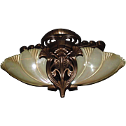 Midwest Lighting Art Deco Cast Bronze Slip Shade Ceiling Fixture
