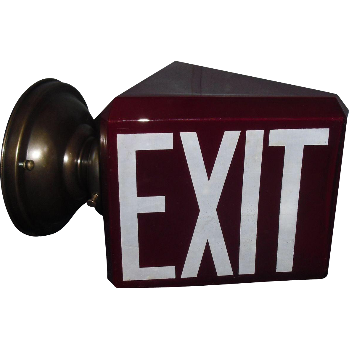 Ruby Red Triangular Exit Wall Light with Beveled Glass Edges