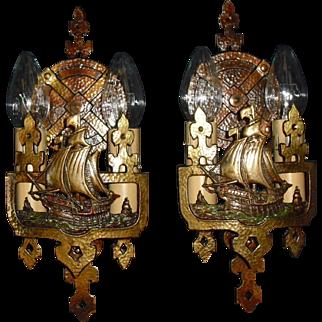 Lincoln Cast Bronze Double Candle Ship Sconces - Original Polychrome Finish