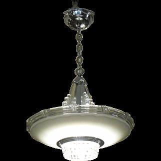 Art Deco Machine Age Glass and Chrome Pendant Light
