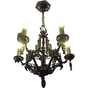 Tudor Cast Bronze 5 Light Chandelier with Grape Motif