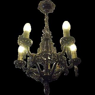 Tudor Cast Bronze 5 Light Chandelier with Grape Motif