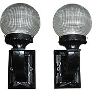 Neoclassical Cast Iron Porch Lights with Holophane Criss-cross Ball Shades