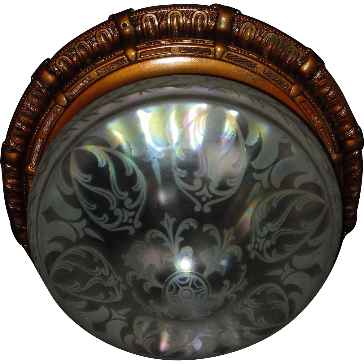 Large Flush Mount Ceiling Light with Iridescent Acid Etched Glass Shade