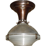 Small Holophane Clip Shade Ceiling Light in Original Brass Fixture