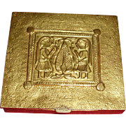 Line Vautrin Gilt Bronze Powder Compact - Adam and Eve Pattern