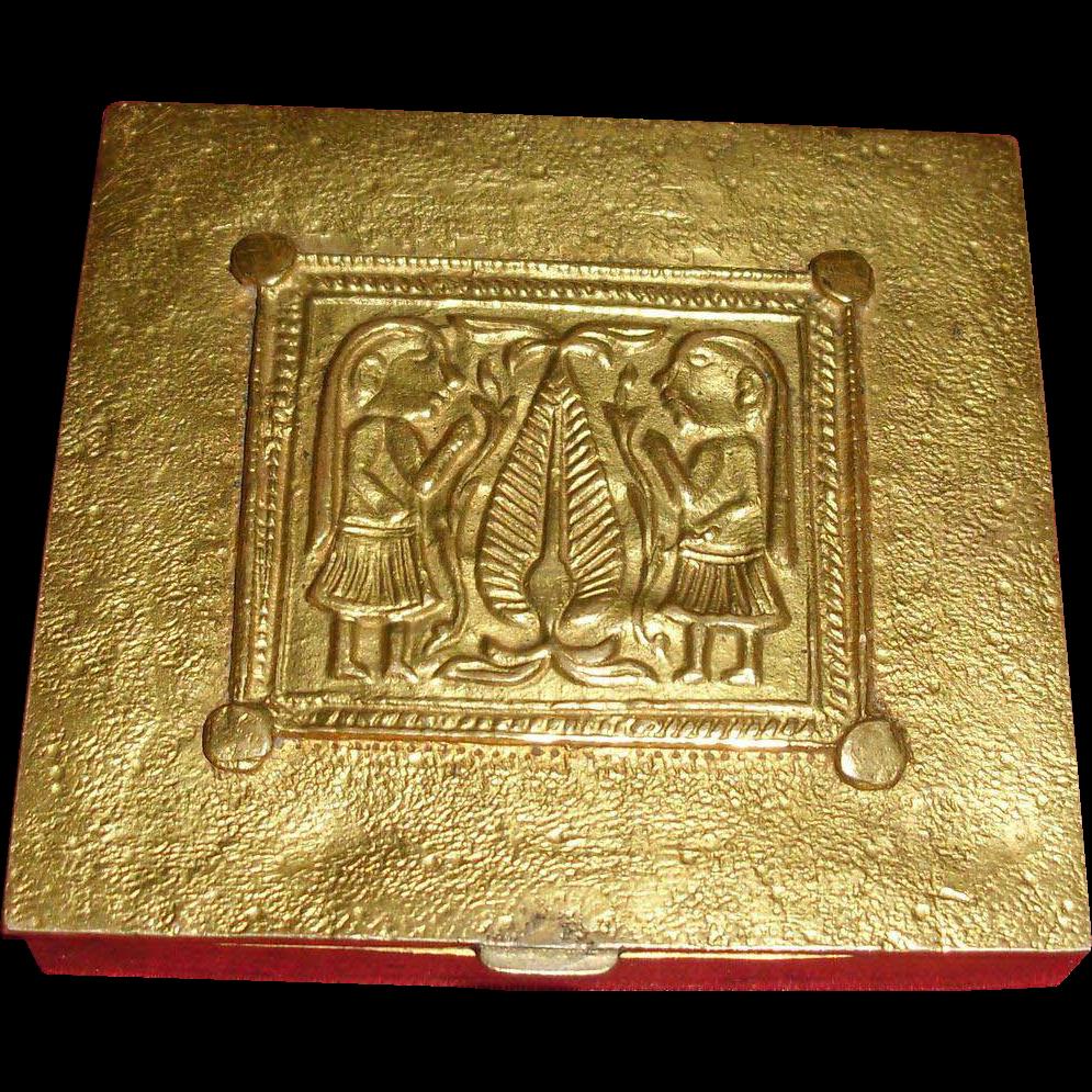 Line Vautrin Gilt Bronze Powder Compact - Adam and Eve Pattern