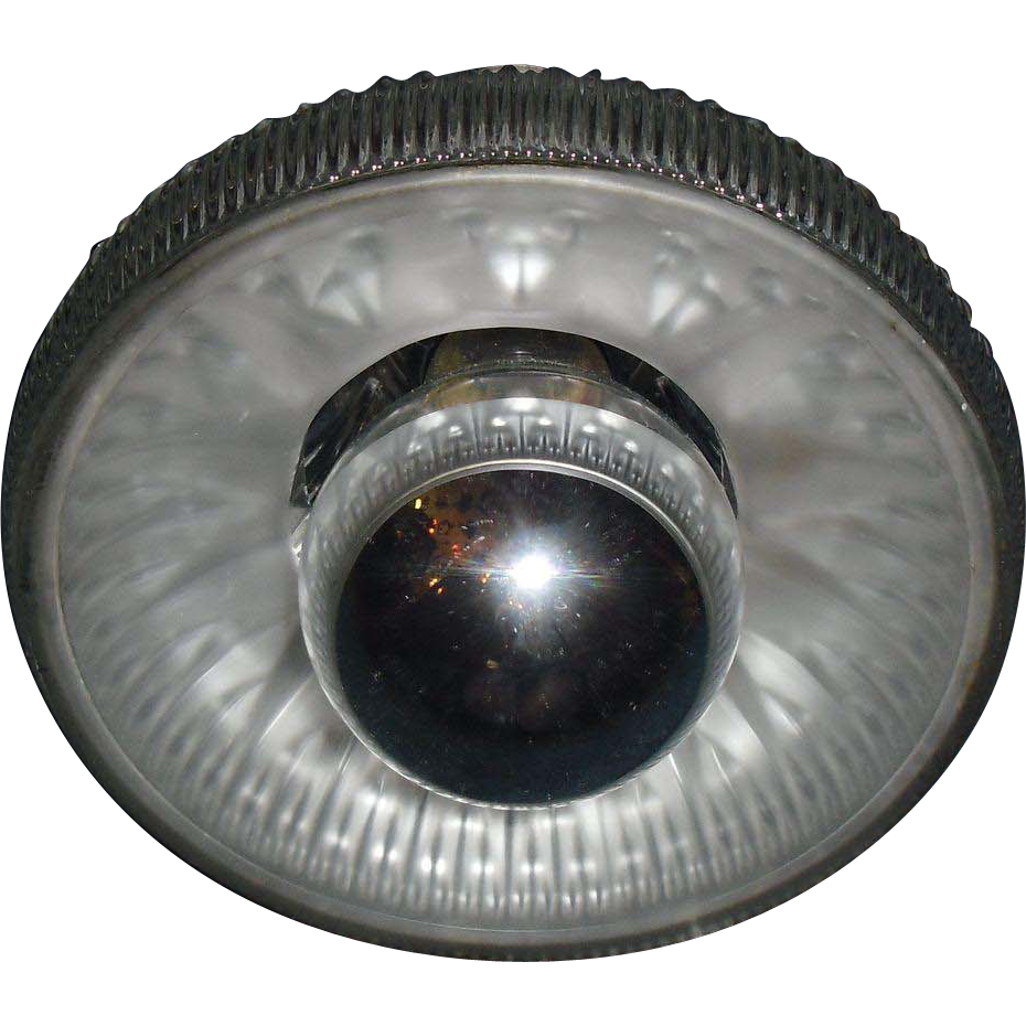 Unusual Holophane Reflective Glass Pendant Light with Mirror Bulb