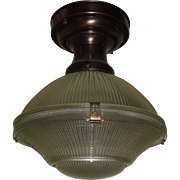 3 Piece Holophane Clip Shade in Original Brass Fixture