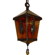 Tudor Brass and Amber Glass with Jewels Pendant Light