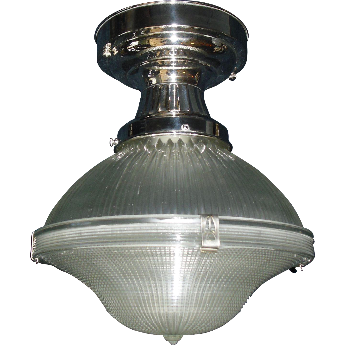 """Holophane 10"""" Two-piece Clip Shade in Original Nickel Plated Fixture"""