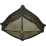 Exceptional Bronze and Glass Spanish Revival Flush Mount Ceiling Light Fixture