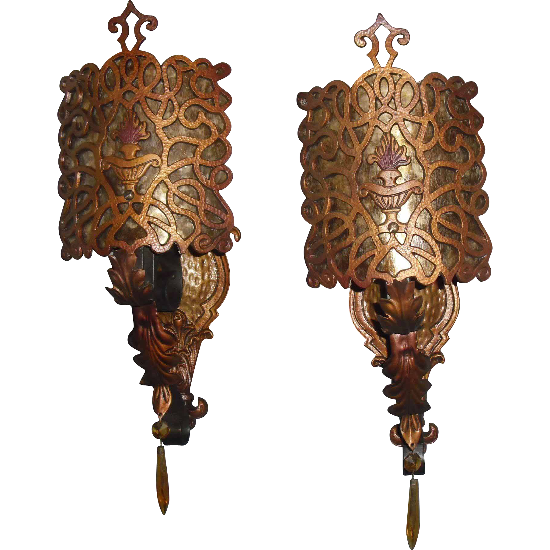 Spanish Revival Wall Sconces with Mica Shields
