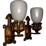 Arts and Crafts Cast Brass Wall Sconces with Steuben Calcite Art Glass Shades