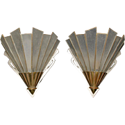 Art Deco Sconces - Cast Brass with Leaded Seed Glass - Original Finish