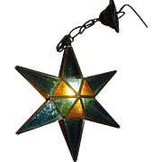 Leaded Stained Glass Star Pendant Light Fixture