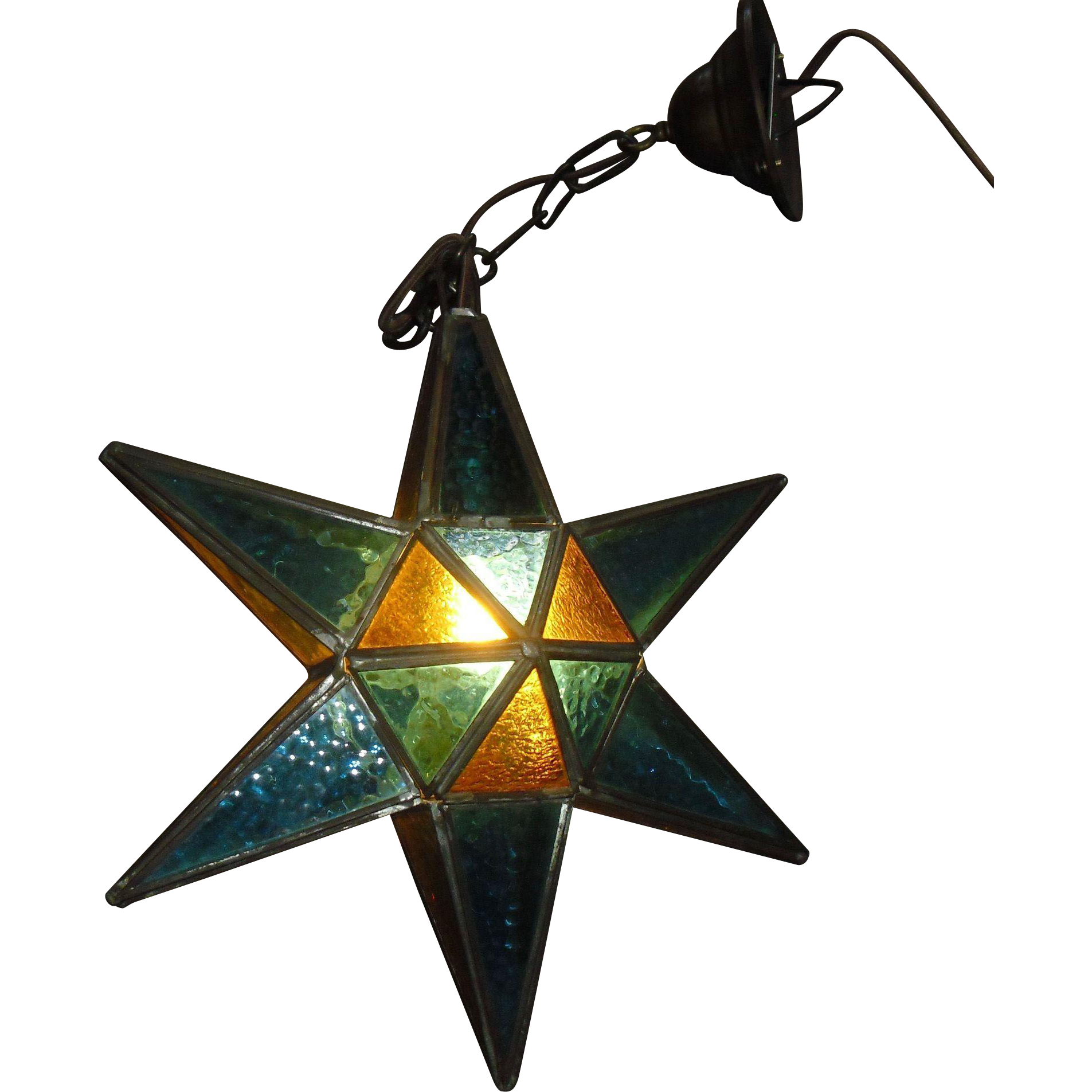 Leaded Stained Glass Star Pendant Light Fixture From