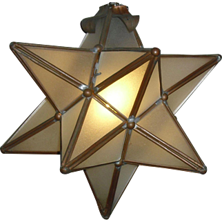 12 Point Star Pendant Light Fixture with Leaded Frosted Glass