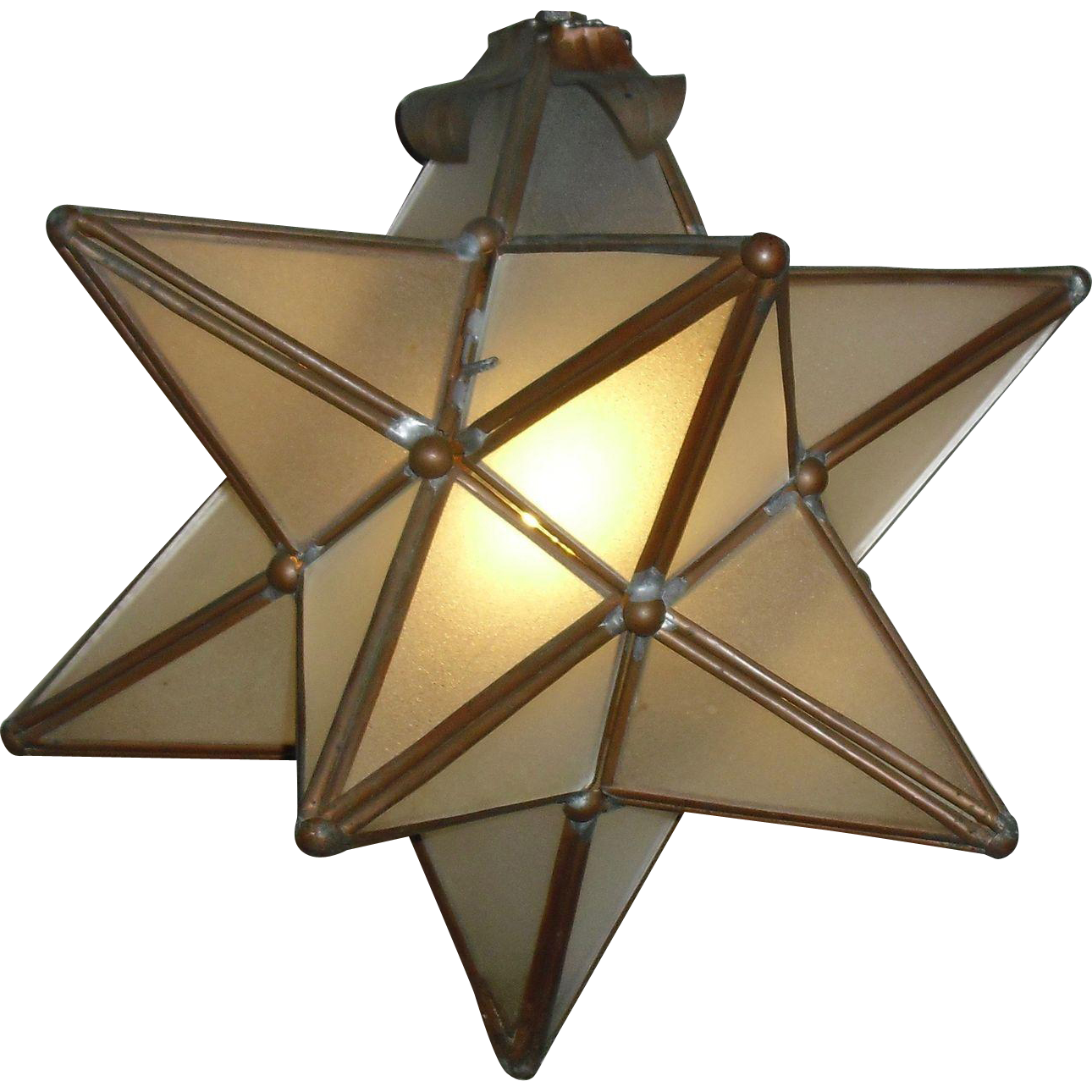 12 Point Star Pendant Light Fixture With Leaded Frosted Glass From