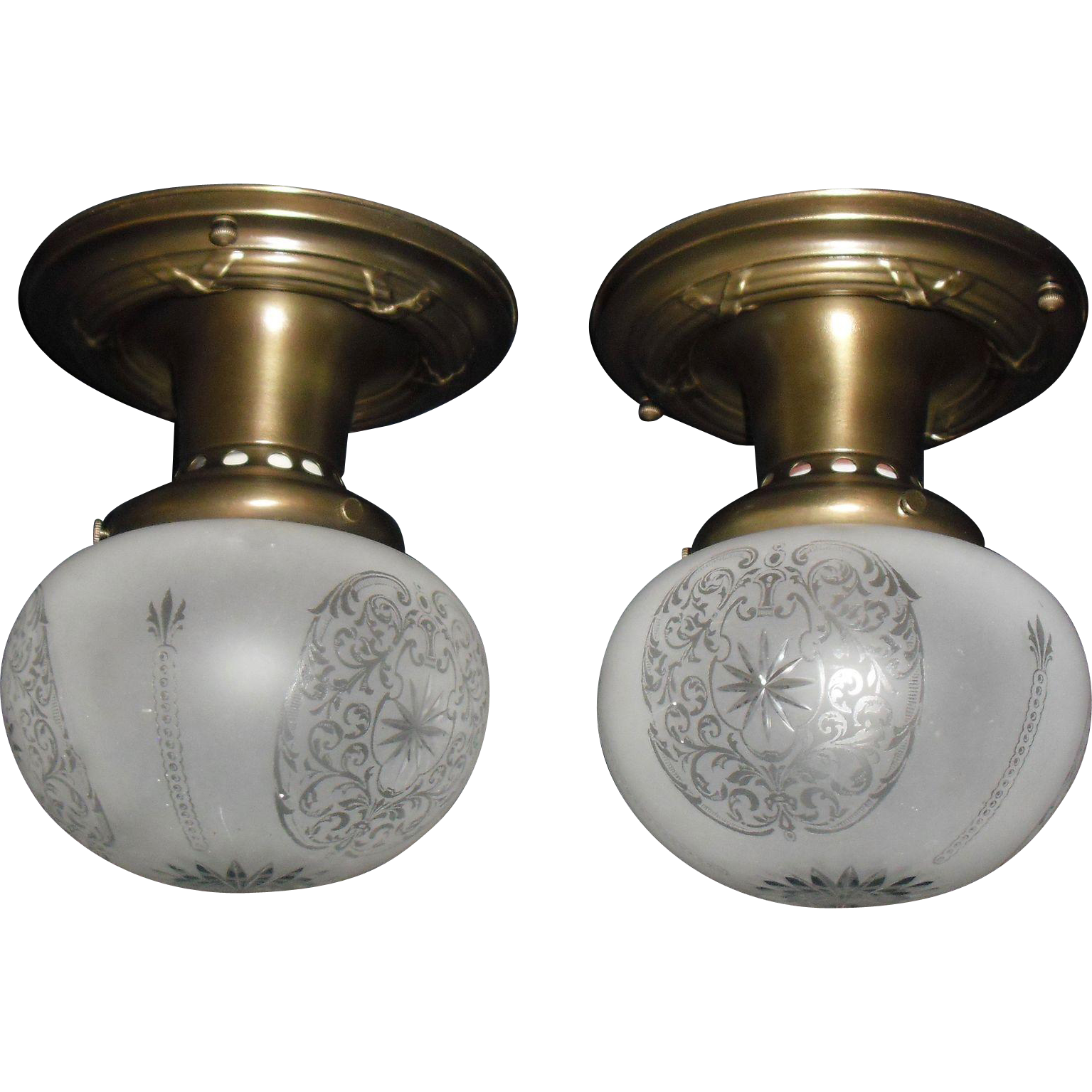 Pair Early Electric Deep Etched and Cut Gass Shades in Decorated Brass Ceiling Light Fixtures