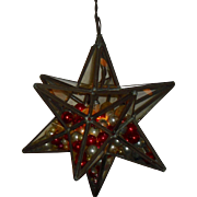 12 Point Star Pendant Light Filled with Antique Glass Ornaments
