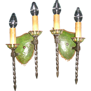 Pair Spanish Revival Double Candle Wall Sconces - 2 pair available