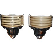 Art Deco Machine Age Slip Shade Wall Sconces - 2 pair available