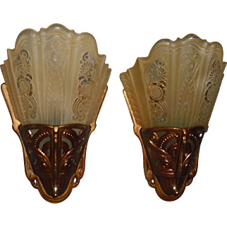 Lightolier Art Deco Slip Shade Wall Sconces