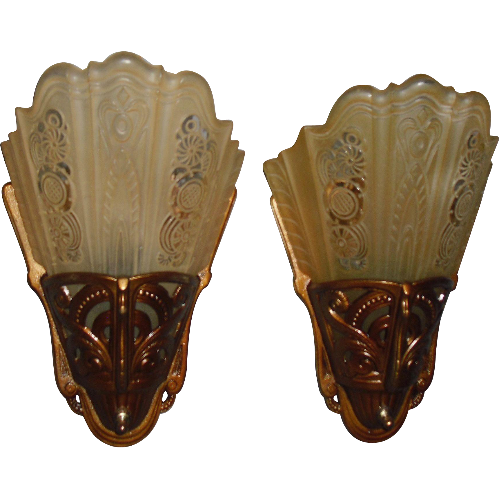 Lightolier Art Deco Slip Shade Wall Sconces