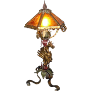 Whimsical Spanish Revival Dragon Table Lamp with Mica Shade
